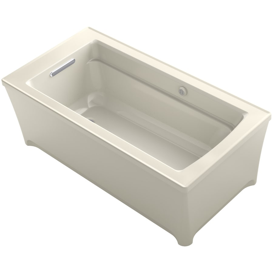 KOHLER Archer 61.75-in L x 31.75-in W x 22-in H Almond Acrylic Rectangular Freestanding Air Bath