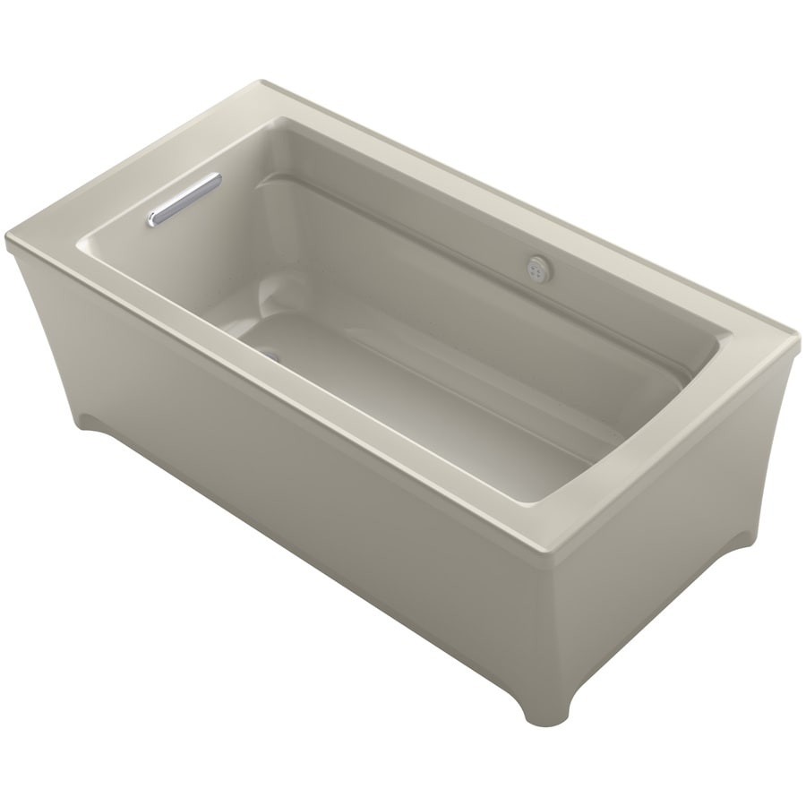 KOHLER Archer 61.75-in L x 31.75-in W x 22-in H Sandbar Acrylic Rectangular Freestanding Air Bath