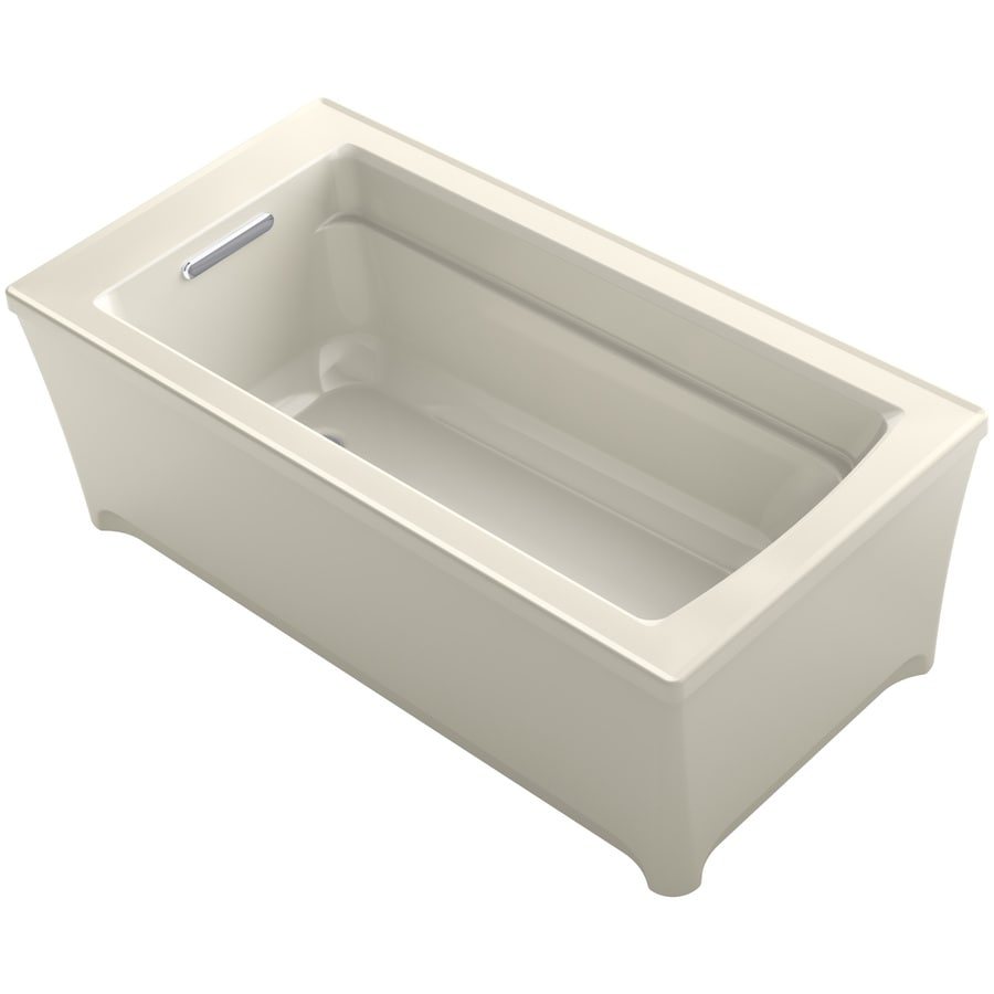 KOHLER Archer Almond Acrylic Rectangular Freestanding Bathtub with Reversible Drain (Common: 32-in x 62-in; Actual: 22-in x 31.75-in x 61.75-in)