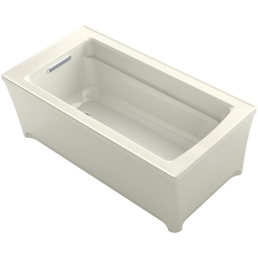 KOHLER Archer Biscuit Acrylic Rectangular Freestanding Bathtub with Reversible Drain (Common: 32-in x 62-in; Actual: 22-in x 31.75-in x 61.75-in)