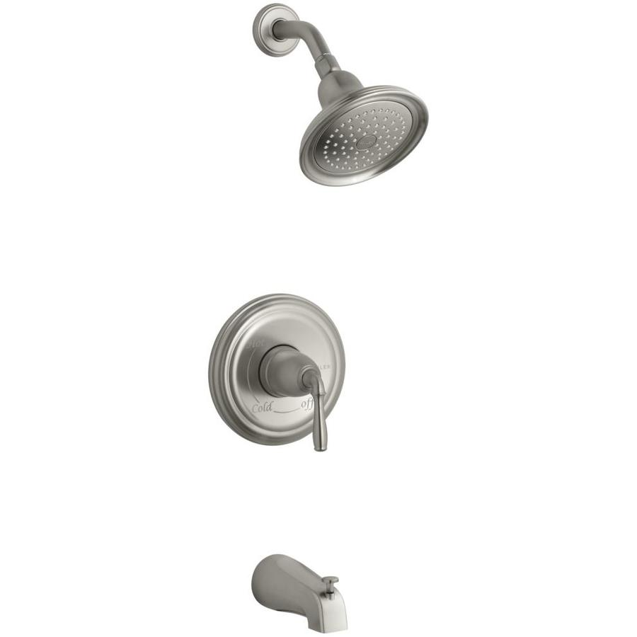 kohler devonshire vibrant brushed nickel 1 handle bathtub and shower faucet in the shower faucets department at lowes com