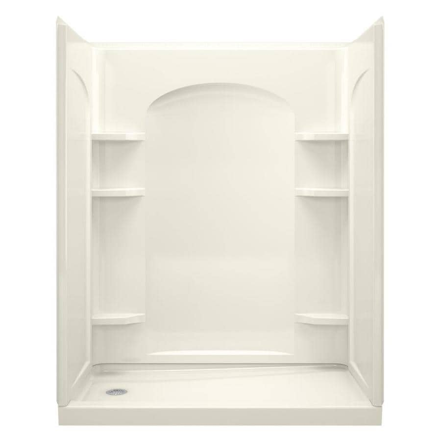 Sterling Ensemble Biscuit Wall Vikrell Floor 4-Piece Alcove Shower Kit (Common: 32-in x 60-in; Actual: 72.5-in x 32-in x 60-in)