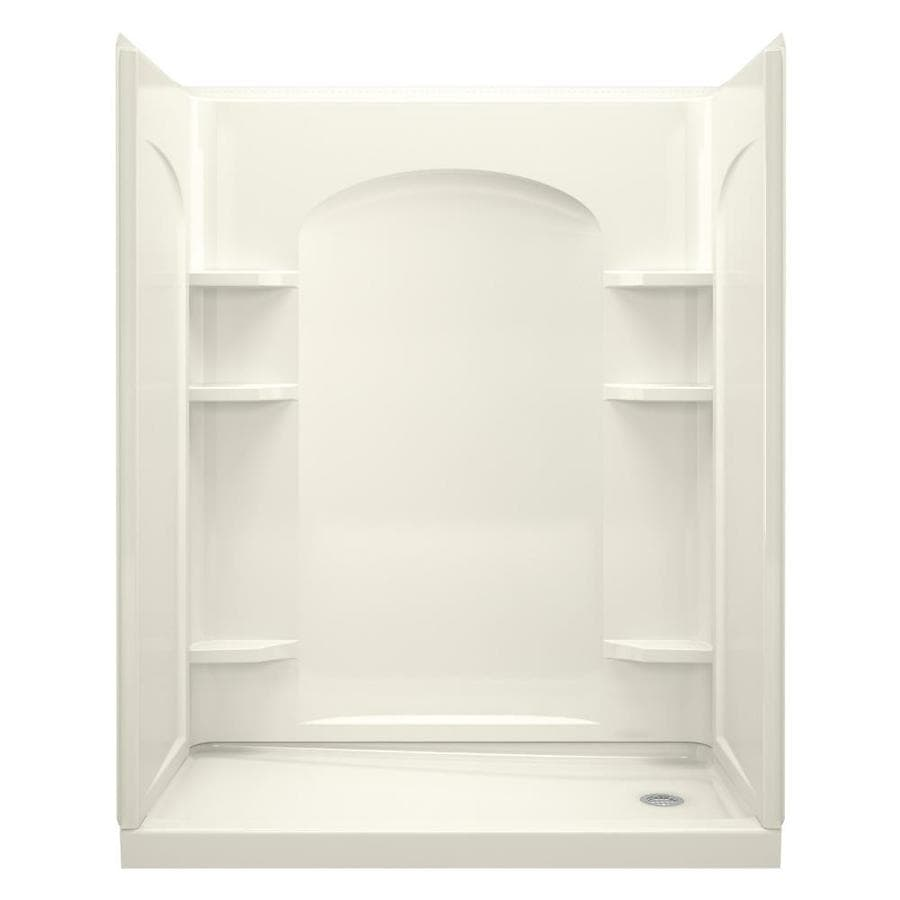 Sterling Ensemble Biscuit Vikrell Wall and Floor 4-Piece Alcove Shower Kit (Common: 32-in x 60-in; Actual: 72.5-in x 32-in x 60-in)