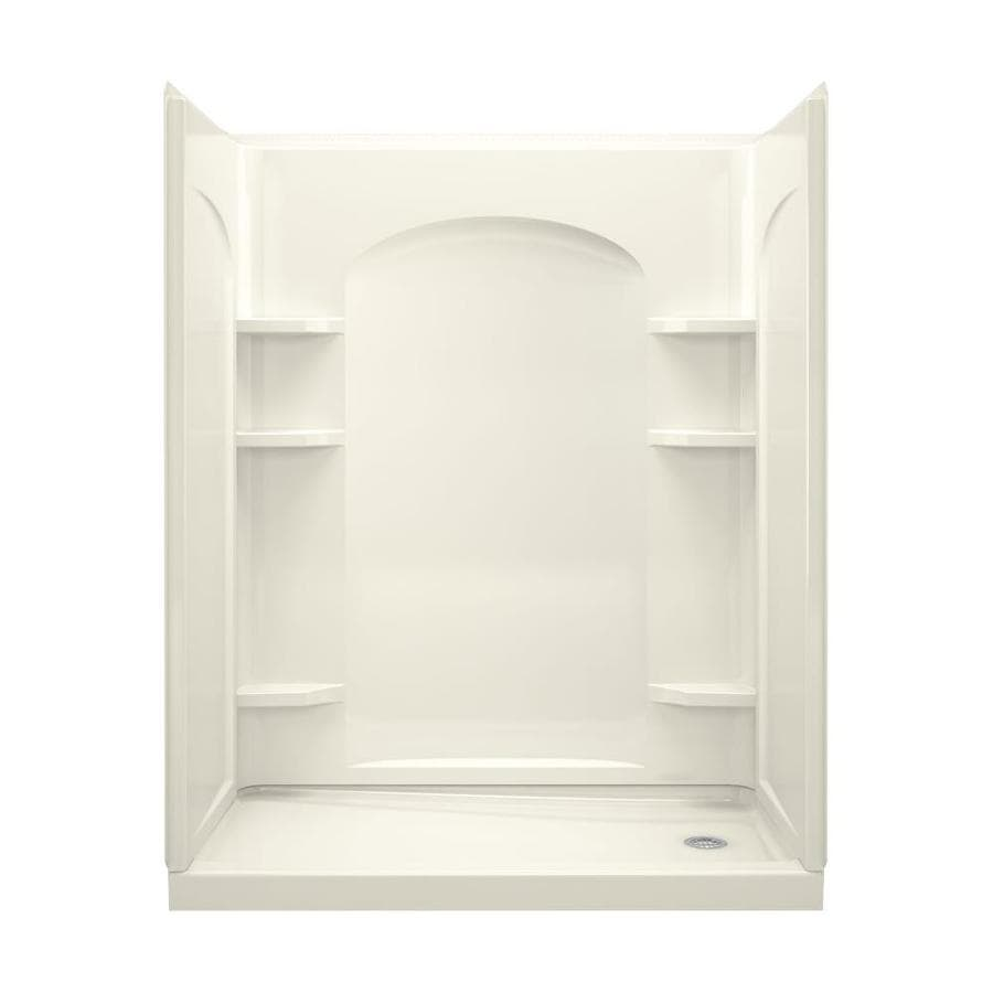 Sterling Ensemble Biscuit Wall Vikrell Floor 4-Piece Alcove Shower Kit (Common: 60-in x 32-in; Actual: 76-in x 60-in x 32-in)