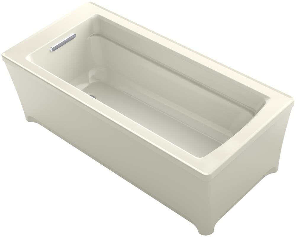 KOHLER Archer 61.75-in Biscuit Acrylic Freestanding Bathtub with Reversible Drain
