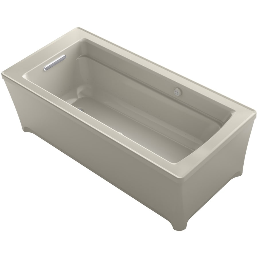 KOHLER Archer 61.75-in Sandbar Acrylic Freestanding Air Bath with Reversible Drain