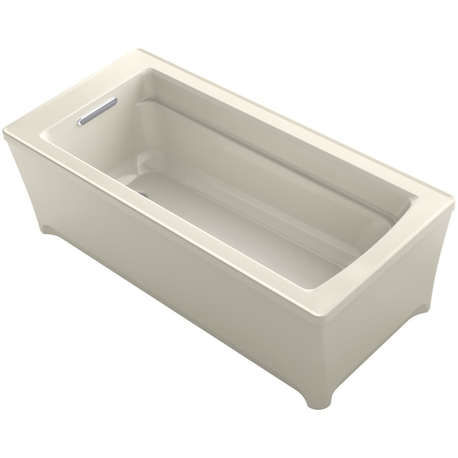 KOHLER Archer 61.75-in Almond Acrylic Freestanding Bathtub with Reversible Drain