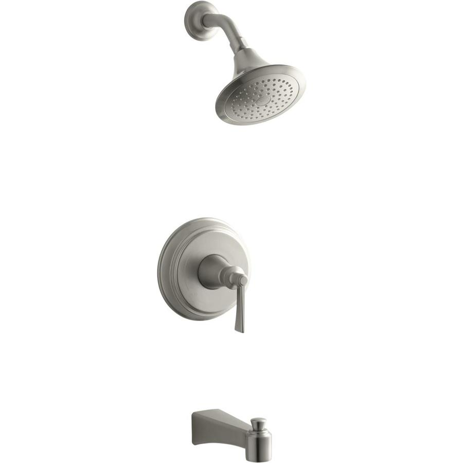 Shop KOHLER Bancroft Vibrnat Brushed Nickle 1-Handle Bathtub And ...