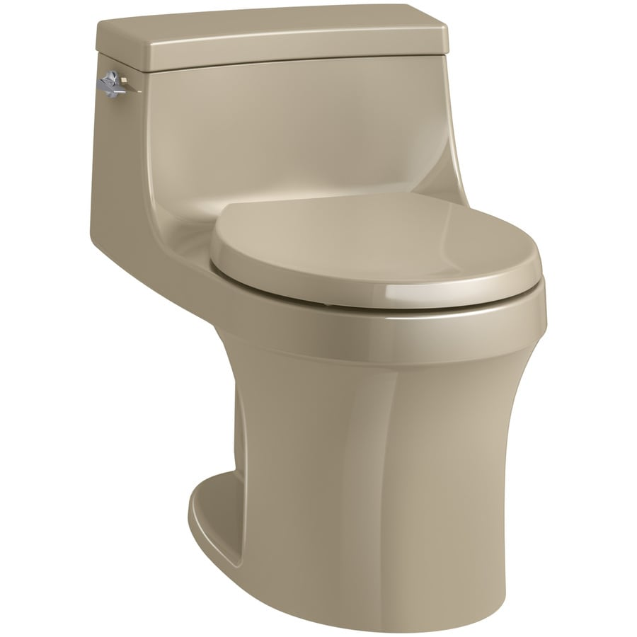 KOHLER San souci Mexican sand WaterSense Labeled  Round Standard Height 1-piece Toilet 12-in Rough-In Size