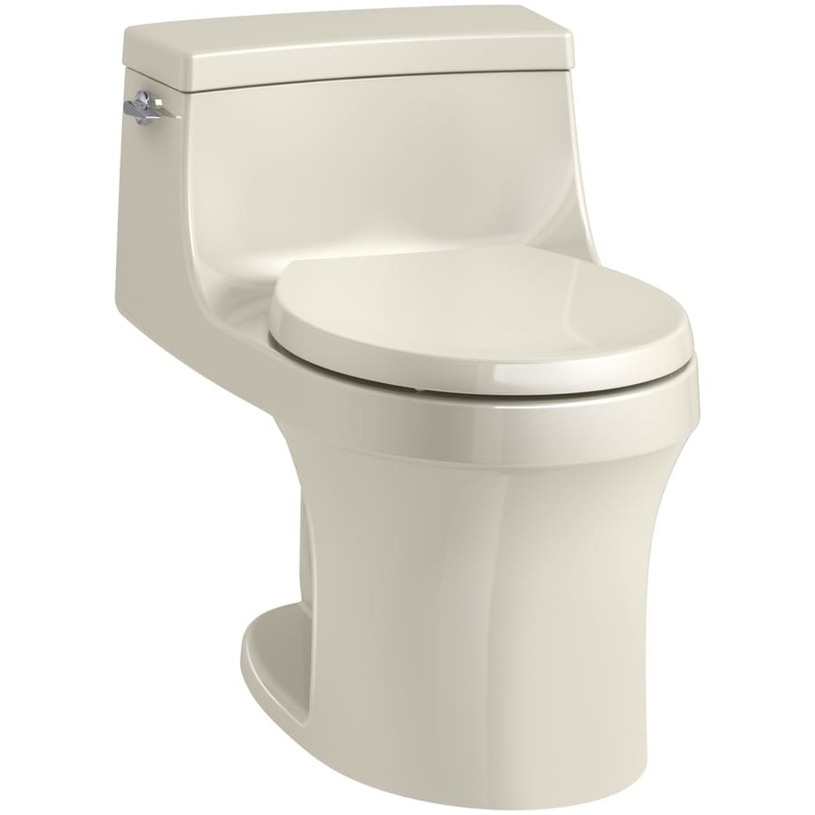 KOHLER San souci Almond WaterSense Labeled  Round Standard Height 1-piece Toilet 12-in Rough-In Size