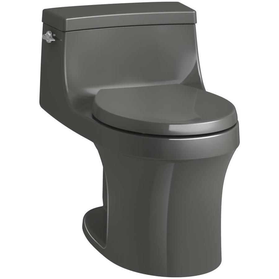 KOHLER San souci Thunder Grey WaterSense Labeled  Round Standard Height 1-piece Toilet 12-in Rough-In Size