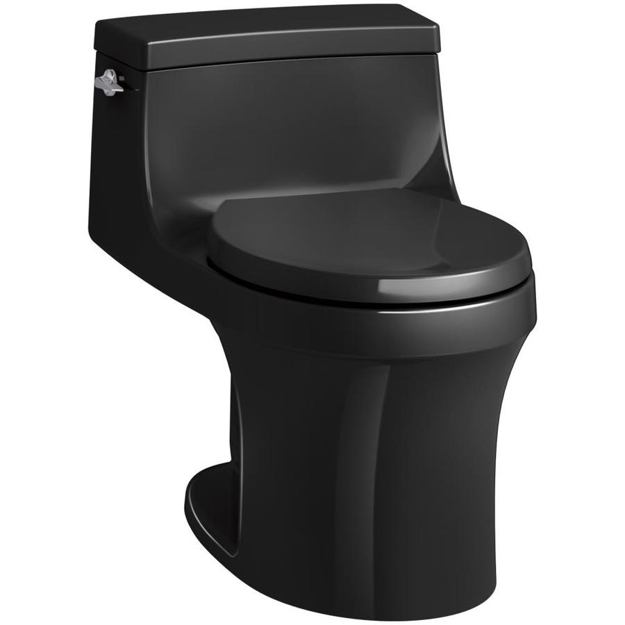 KOHLER San souci Black black WaterSense Labeled  Round Standard Height 1-piece Toilet 12-in Rough-In Size