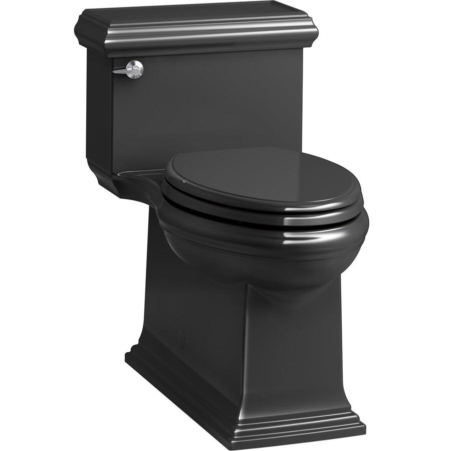 KOHLER Memoirs 1.28-GPF (4.85-LPF) Black WaterSense Compact Elongated Chair Height 1-Piece Toilet