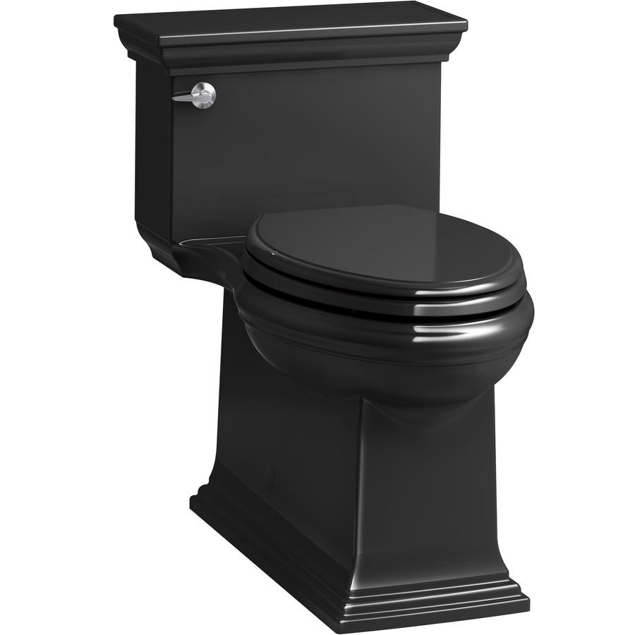 KOHLER Memoirs 1.28 Black WaterSense Compact Elongated Chair Height 1-Piece Toilet
