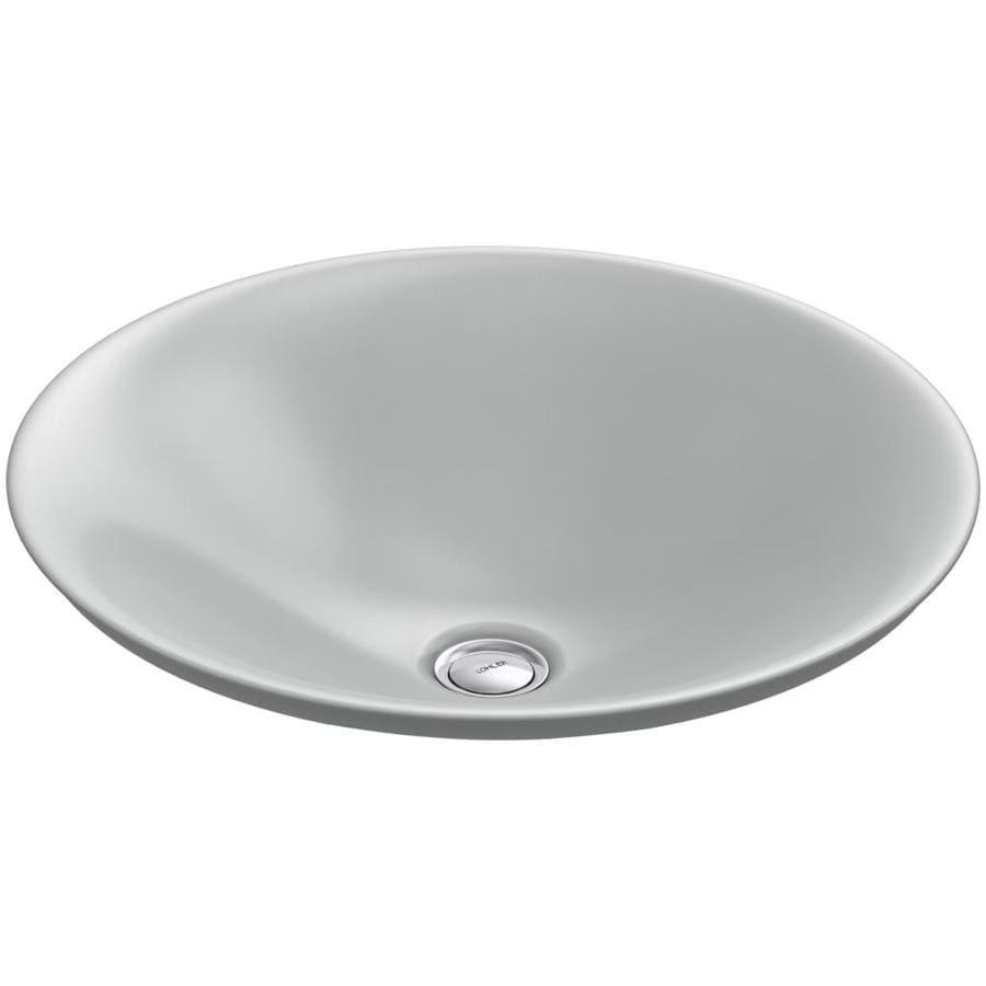 KOHLER Carillon Ice Grey Vessel Rectangular Bathroom Sink
