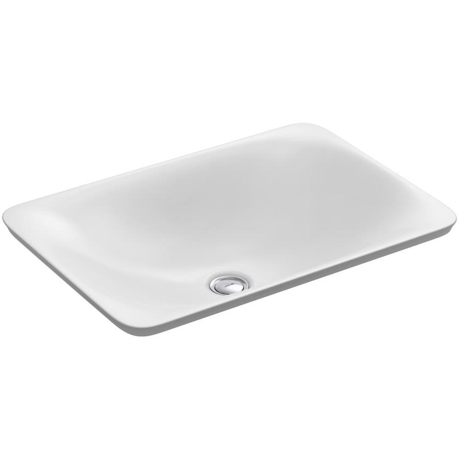 Shop KOHLER Carillon White Vessel Rectangular Bathroom Sink at Lowes ...