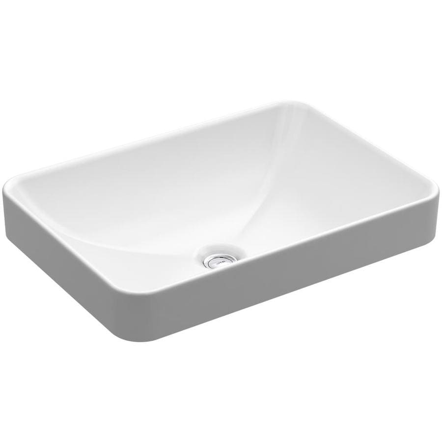 Kohler Vox White Vessel Rectangular Bathroom Sink With Overflow At