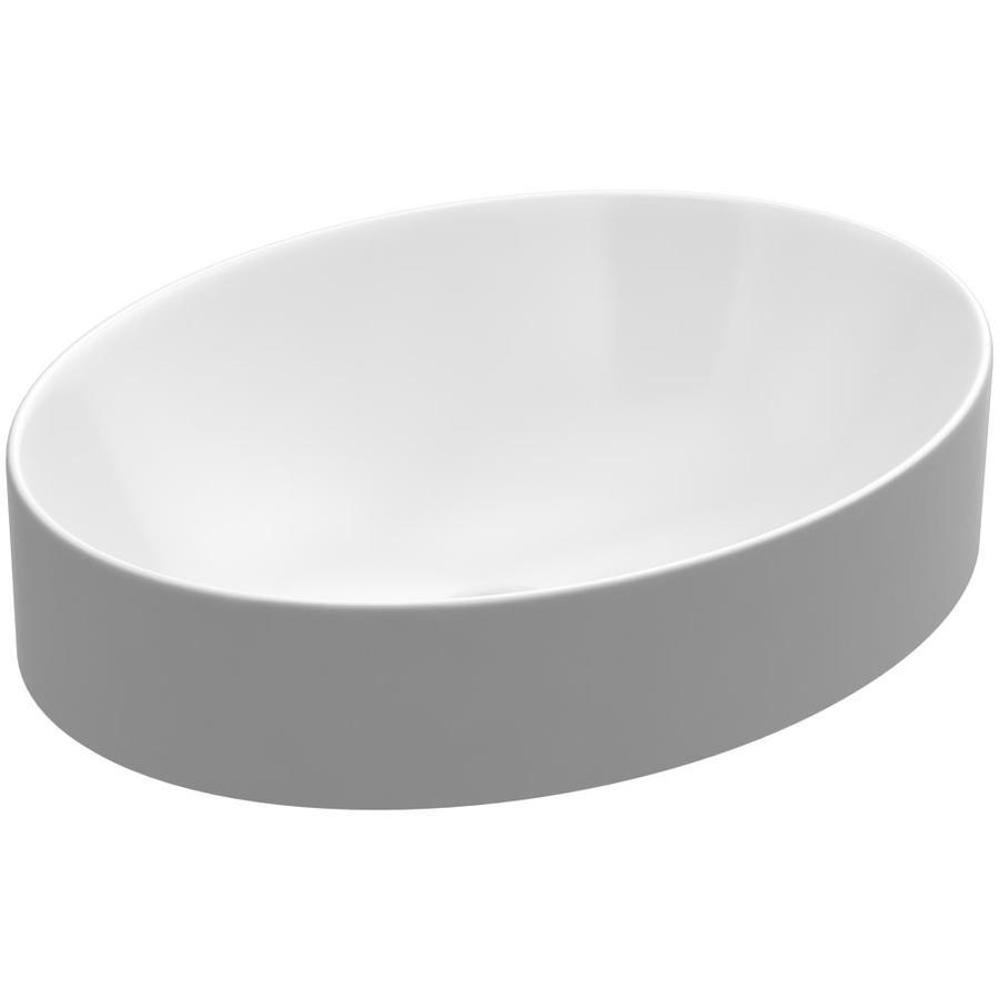 KOHLER Vox White Vessel Oval Bathroom Sink with Overflow
