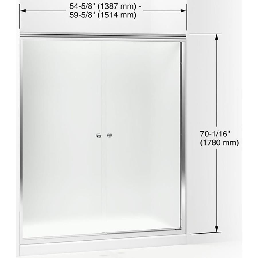 Sterling Finesse 70 0625 In H X 54 625 In To 59 625 In W Frameless Sliding Silver Shower Door Frosted Patterned Glass In The Shower Doors Department At Lowes Com
