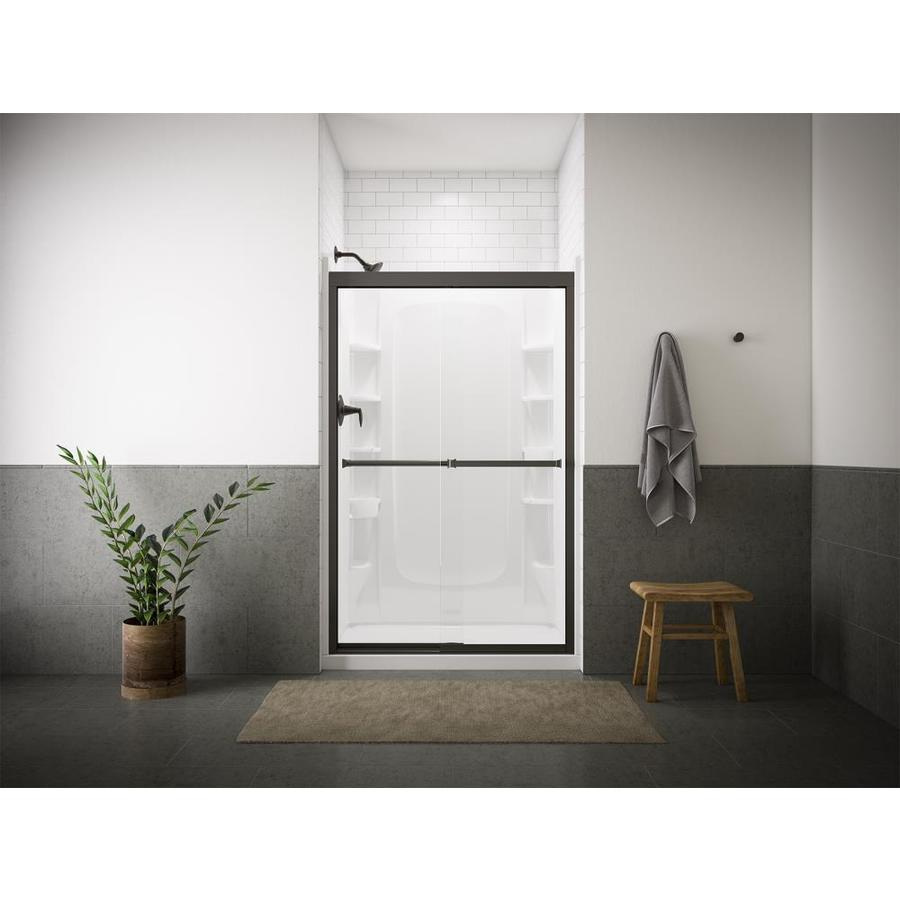 Sterling Meritor 42.625-in to 47.625-in W Frameless Anodized Deep Bronze Sliding Shower Door