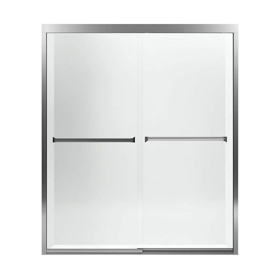 Sterling Meritor 54.375-in to 59.375-in W Frameless Silver Sliding Shower Door