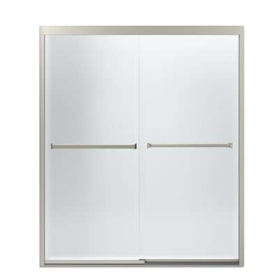 Meritor 54 375 In To 59 W Frameless Byp Sliding Brushed Nickel Shower Door