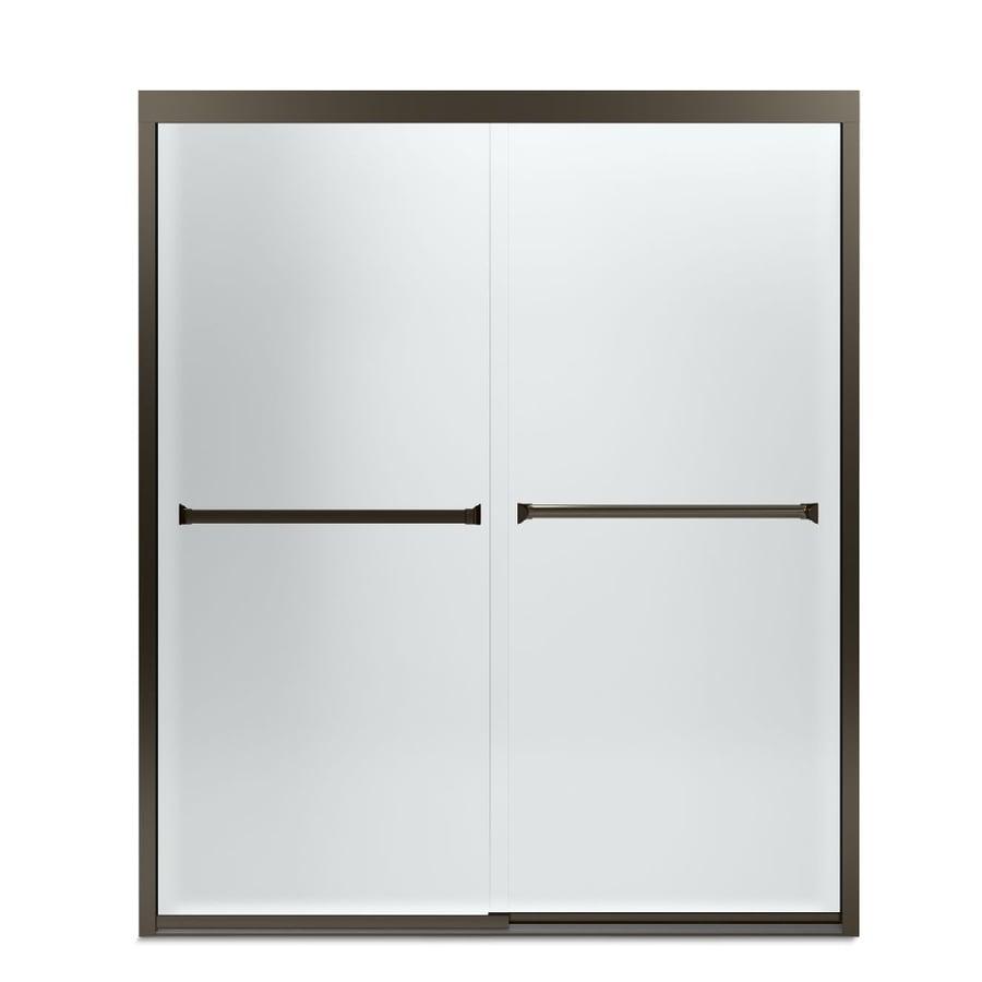 Sterling Meritor 54.375-in to 59.375-in Frameless Deep bronze Sliding Shower Door