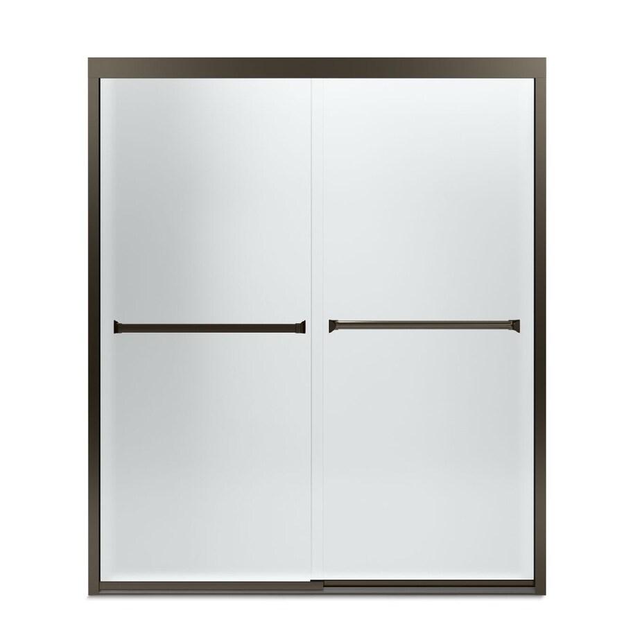 Sterling Meritor 54.375-in to 59.375-in W Frameless Deep Bronze Sliding Shower Door