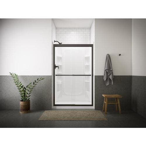 Sterling Meritor 54 375 In To 59 W Frameless Anodized Deep Bronze Sliding Shower Door At Lowes