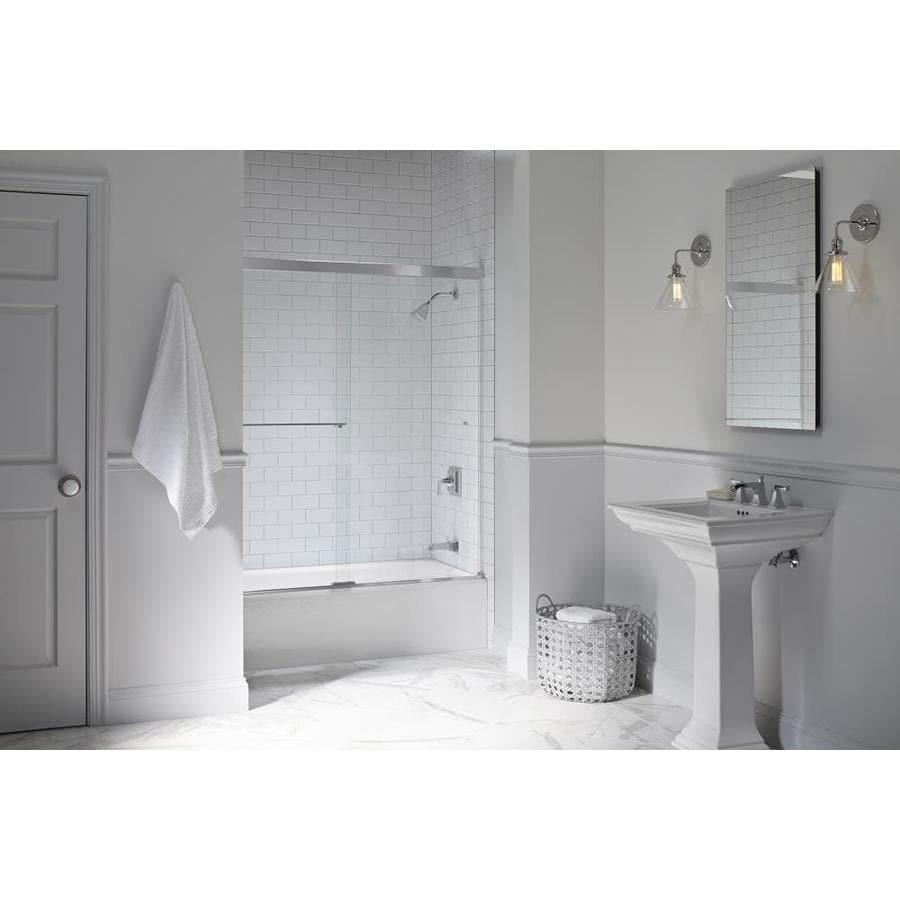 KOHLER Revel 59.625-in W x 55.5-in H Silver Frameless Bathtub Door
