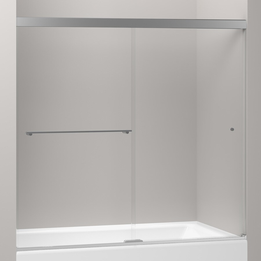 KOHLER Revel 59.625-in W x 55.5-in H Silver Frameless Bathtub Door