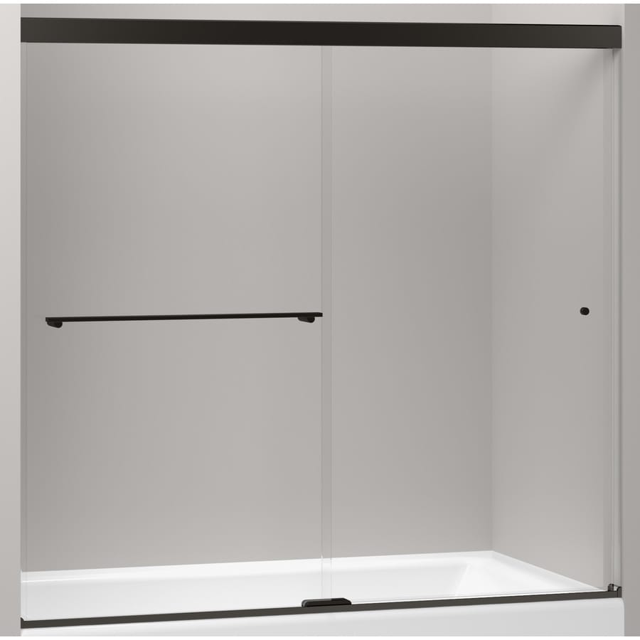KOHLER Revel 59.625-in W x 55.5-in H Dark Bronze  Bathtub Door