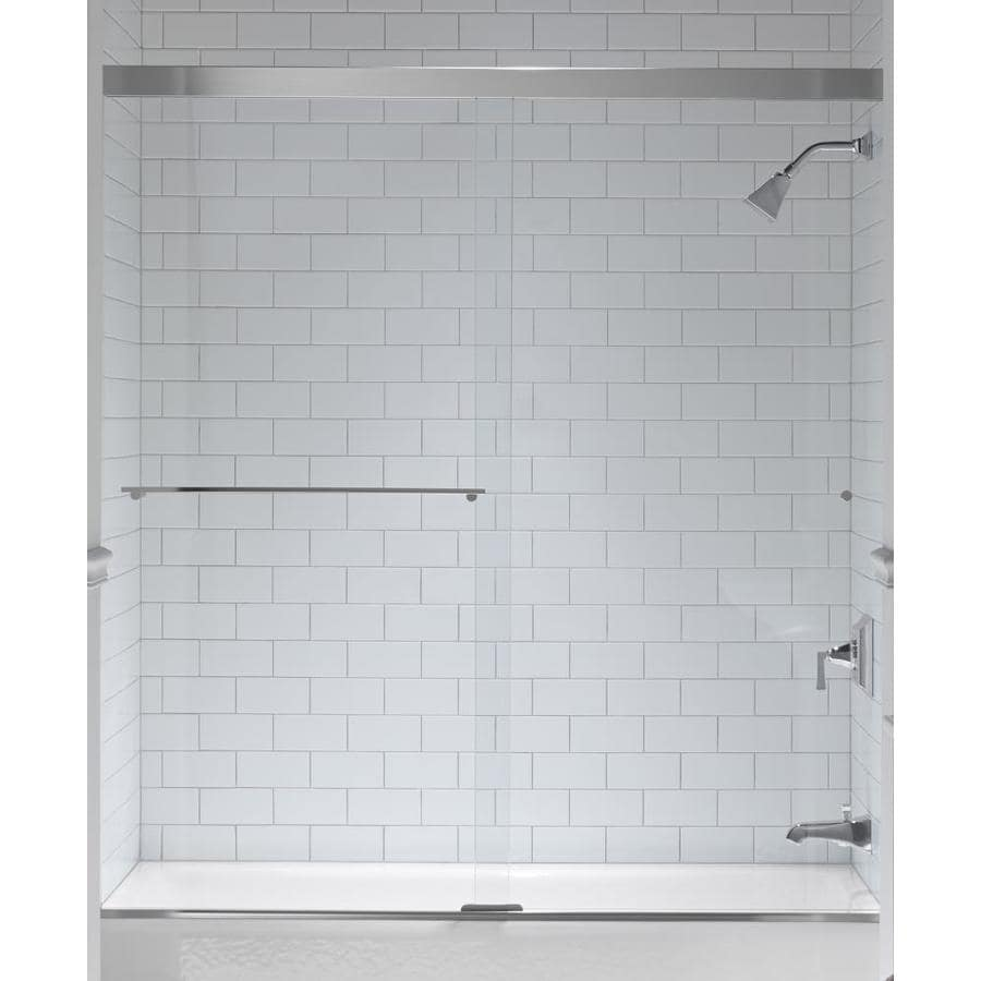 KOHLER Revel 59.625 In W X 62 In H Bright Silver Bathtub Door