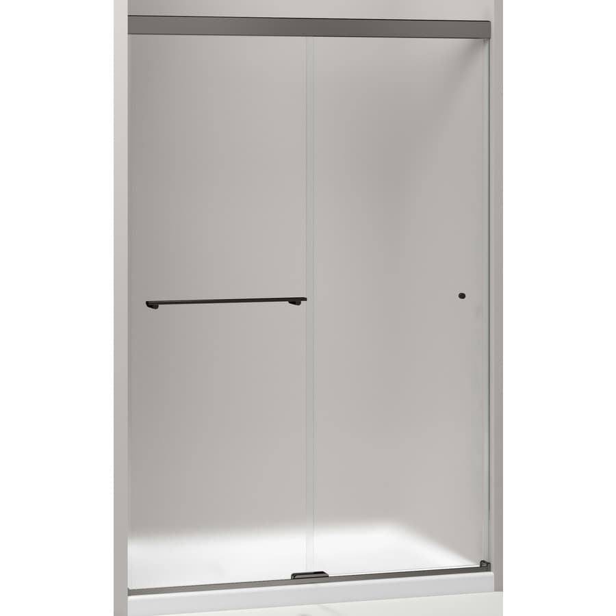 KOHLER Revel 44.625-in to 47.625-in W Frameless Anodized Dark Bronze Sliding Shower Door