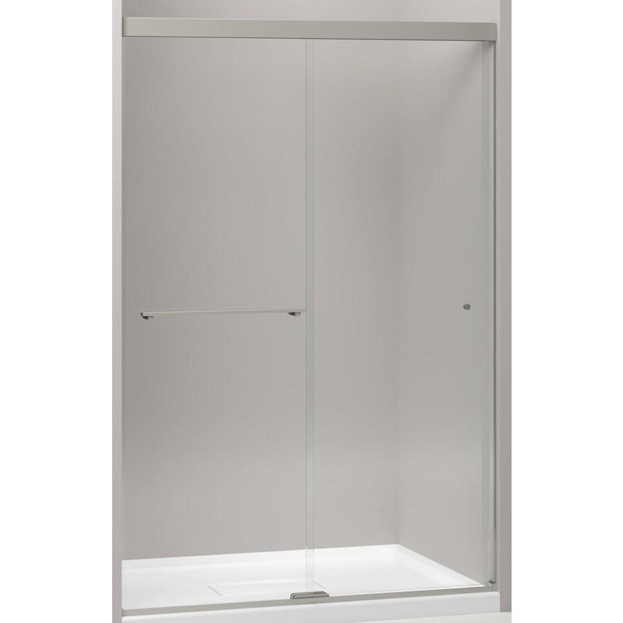 KOHLER Revel 44.625-in to 47.625-in W Frameless Anodized Brushed Nickel Sliding Shower Door