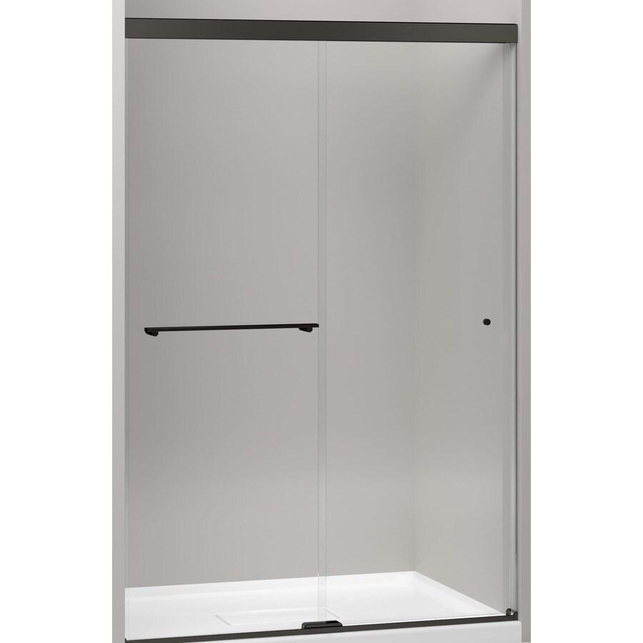 KOHLER Revel 44.625-in to 47.625-in W x 76-in H Dark Bronze Sliding Shower Door