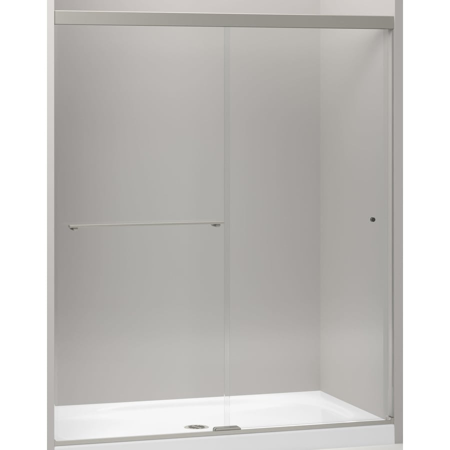 KOHLER Revel 56.625-in to 59.625-in W x 70-in H Brushed Nickel Sliding Shower Door