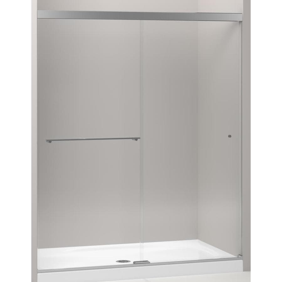 KOHLER Revel 56.625-in to 59.625-in W x 70-in H Polished Nickel Sliding Shower Door