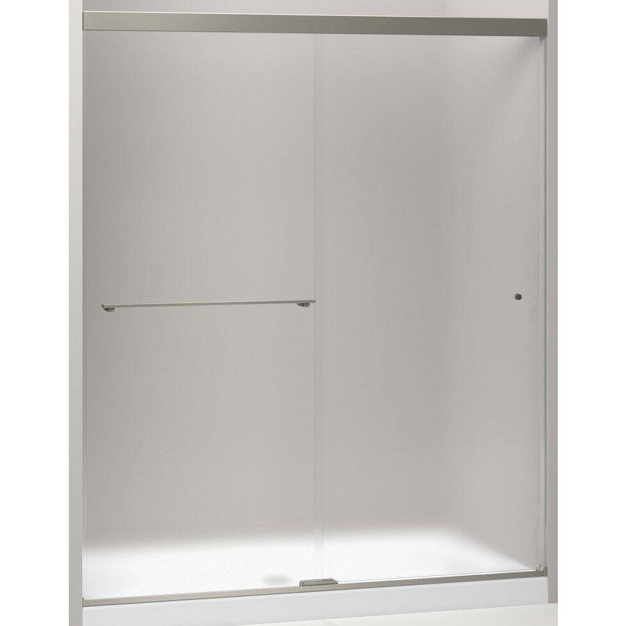 KOHLER Revel 56.625-in to 59.625-in W Frameless Anodized Brushed Nickel Sliding Shower Door
