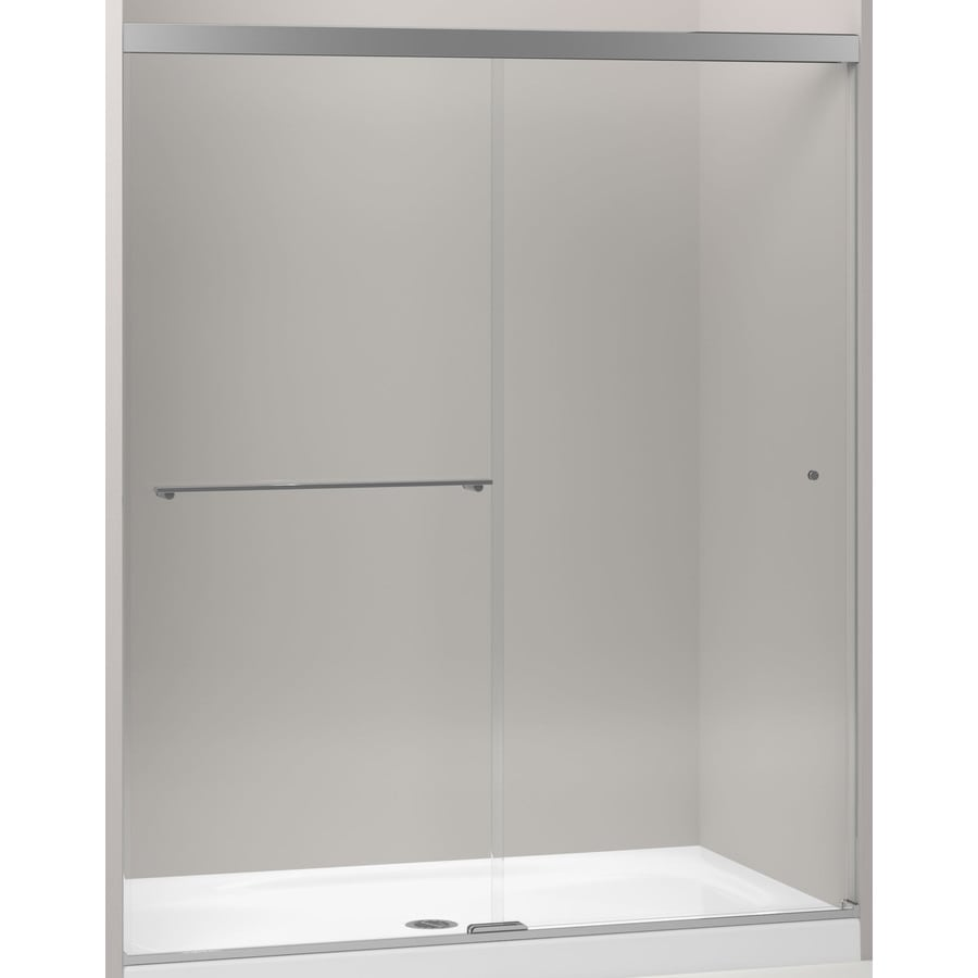 Shop kohler revel 56625 in to 59625 in frameless bright polished kohler revel 56625 in to 59625 in frameless bright polished silver sliding shower door vtopaller Gallery