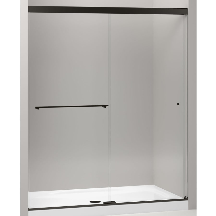 KOHLER Revel 56.625-in to 59.625-in W x 76-in H Dark Bronze Sliding Shower Door