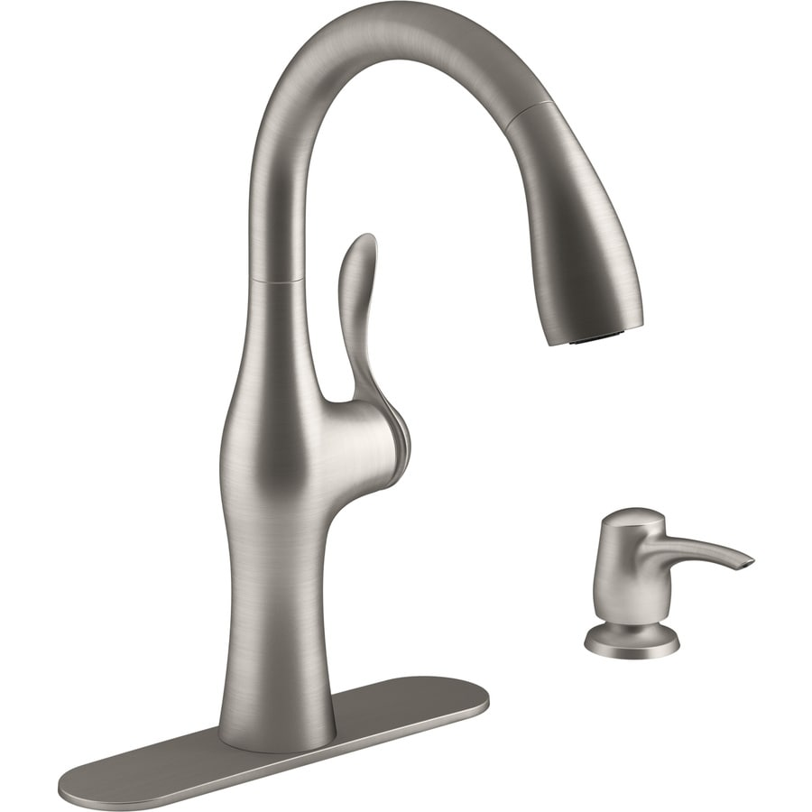 Kohler Alma Vibrant Stainless 1 Handle Deck Mount Pull Down Kitchen Faucet