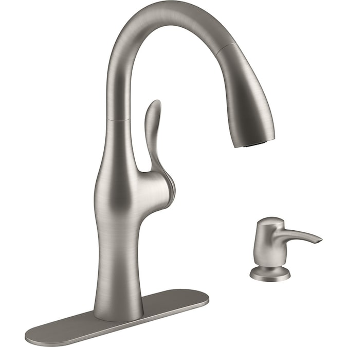 https www lowes com pd kohler alma vibrant stainless 1 handle deck mount pull down handle lever kitchen faucet 1000207841