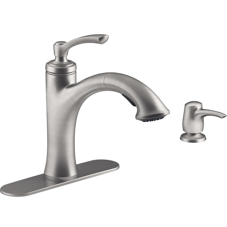 Delta Pull Out Kitchen Faucets shop kohler elliston vibrant stainless 1-handle pull-out kitchen