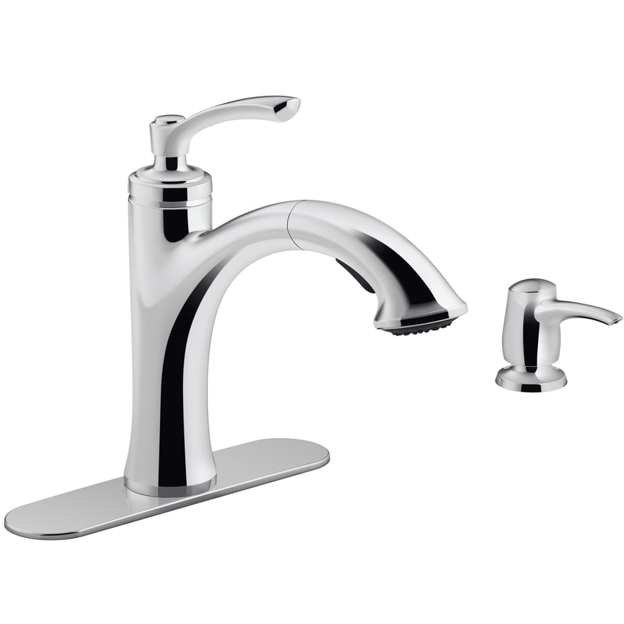 Kohler Elliston Polished Chrome 1 Handle Pull Out Kitchen Faucet