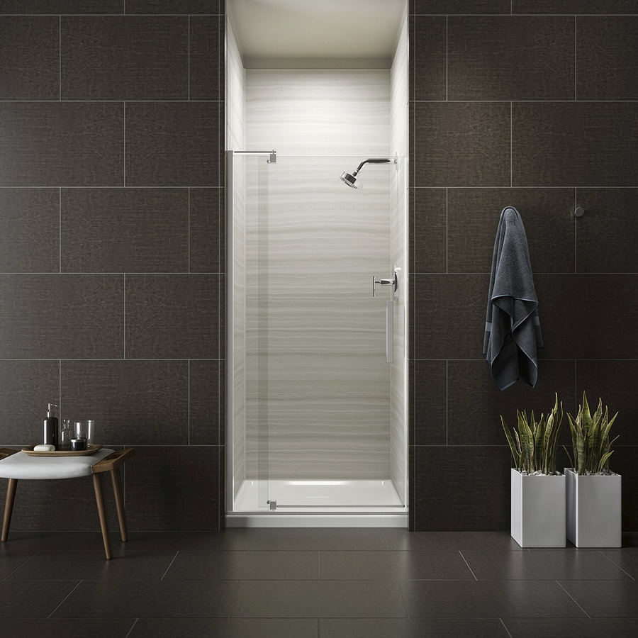 KOHLER Revel 27.3125-in to 31.125-in Frameless Silver Pivot Shower Door