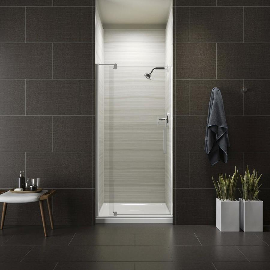 KOHLER Revel 27.3125-in to 31.1250-in Frameless Bright Polished Silver Pivot Shower Door