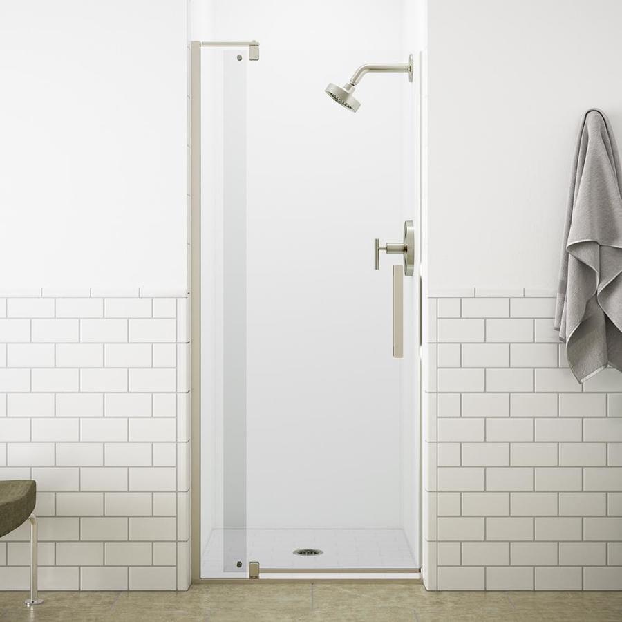 KOHLER Revel 27.3125-in to 31.125-in Frameless Brushed Nickel Pivot Shower Door