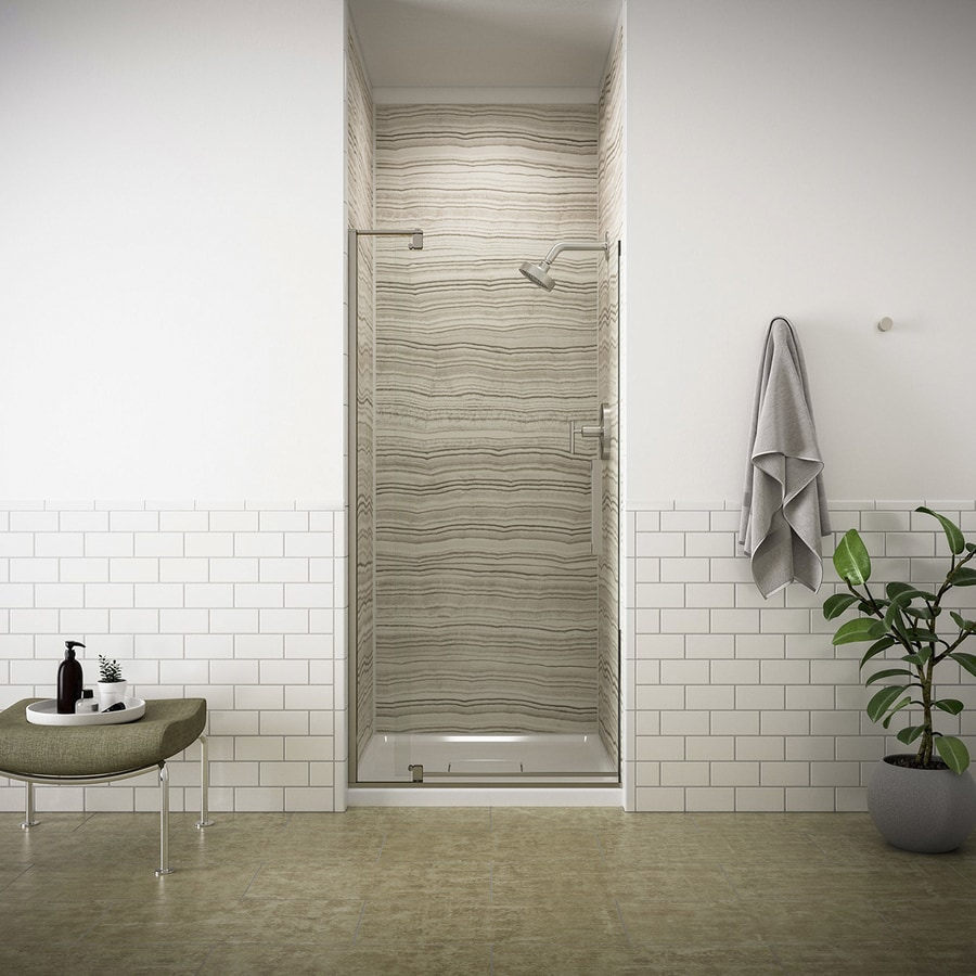 KOHLER Revel 43.125-in to 48-in Frameless Brushed Nickel Pivot Shower Door