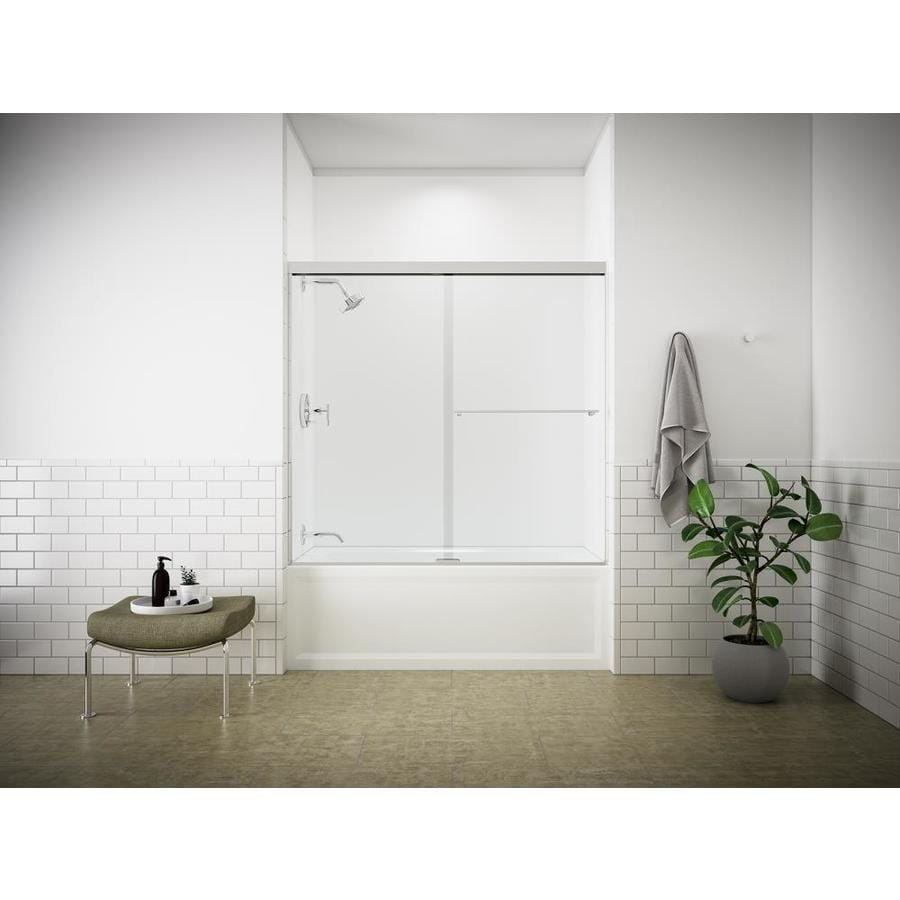 KOHLER Revel 59.625-in W x 55.5-in H Frameless Bathtub Door